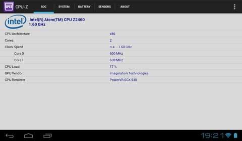 搭載されているAtom Z2460は1.6GHzのシングルコア