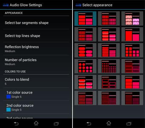 Audio Glow Music Visualizer:ビジュアルの設定画面(左)様々な種類のコマがある(右)