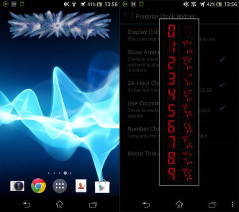 Predator Clock Widget:ウィジェットが自爆!(左)記号と数字の対応表(右)