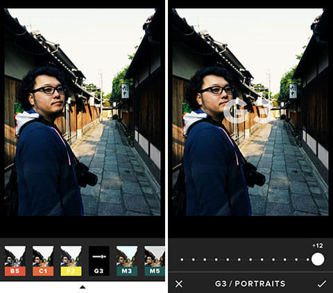 VSCO Cam®:プレビューを長押しすれば、編集前の画像と比較できる