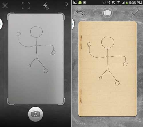 Sketchlens:撮影時の絵(左)取り込まれた絵(右)