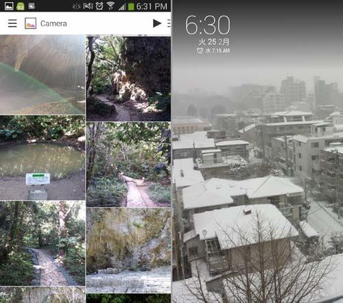 Dayframe (Chromecast Photos):ギャラリーの写真が表示(左)スライドショーとして見ることもできる(右)