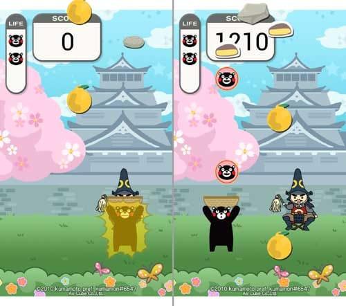 くまモンとキャッチだモン!:岩に当たるとビリビリしてライフが減る(左)くまモンマークをキャッチすればライフが回復する(右)
