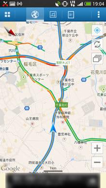 渋滞ナビ:「ドライブモード画面」千葉北インター先が渋滞中と確認できる