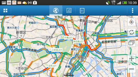 渋滞ナビ:横画面なら広域の情報も一目で分かる