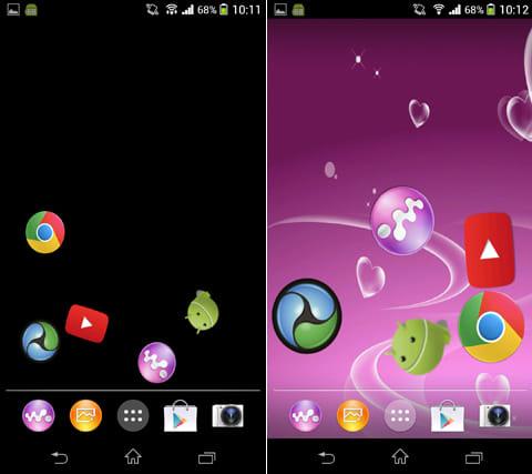 Gravity Home:アイコンサイズを自由に調整できる(左)背景にギャラリー内の画像を設定できる(右)