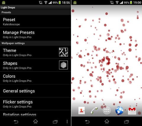 Light Drops Live Wallpaper:設定画面(左)「Raspberry Swirl」は画面中心から模様が広がっていく(右)