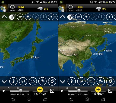 MeteoEarth:上下左右にフリックしたり、ピンチイン・アウトの操作で、様々な角度や視点から地図が見られる