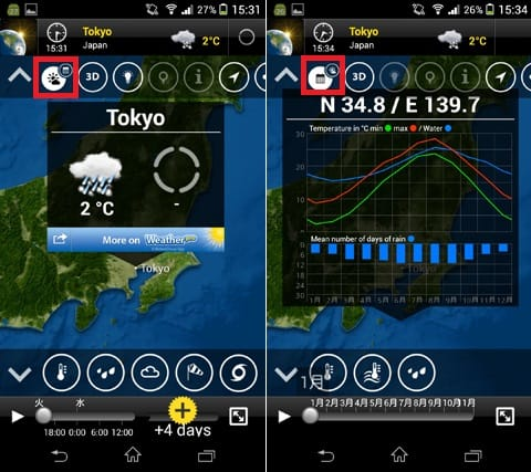 MeteoEarth:都市名をタップすると天気が表示される(左)アイコンをカレンダーに変えると、年間の気温や降水量等が見られる(右)