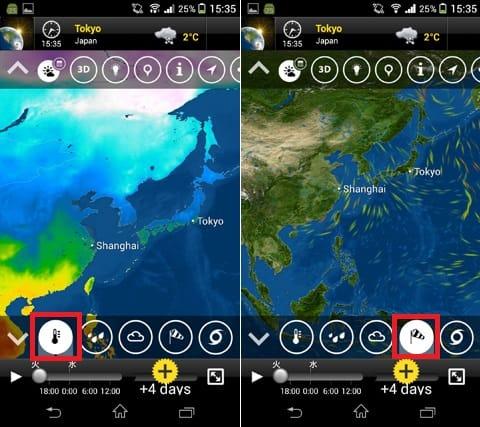 MeteoEarth:気温表示画面(左)風向き表示画面(右)