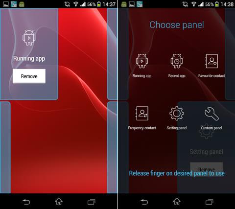 Quickr - Action Launcher:画面の四隅にパネルが表示される。画面中央に向けてスワイプすると表示され、機能がONとなる(左)画面を長押し、スワイプするとパネルの一覧が表示される(右)