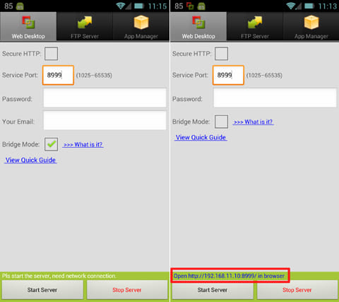 Remote Web Desktop Full:「Bridge Mode」にチェックを入れる(左)「Start Server」をタップで準備完了(右)