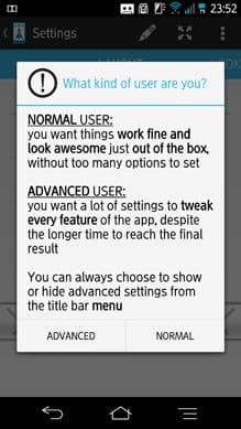 Slide Launcher:設定方法は2種類。「ADVANCED」はより詳細な設定ができる