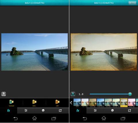 Vintique by GMYStudio:画像編集画面(左)「fx」の「Standard」から様々なエフェクトを選ぶだけ(右)