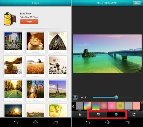 Vintique by GMYStudio:「Extra」「Soft」のエフェクトは有料(左)「Texture」を利用しても、写真イメージを大きく変更できる(右)