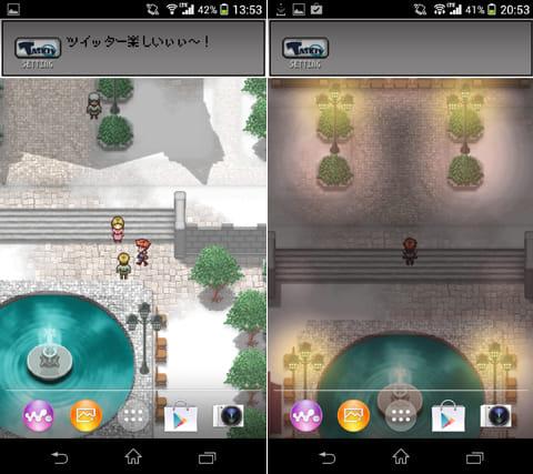 RPG風ライブ壁紙:街の住人と会話ができる(左)時間にあわせて街の雰囲気も変わる(右)