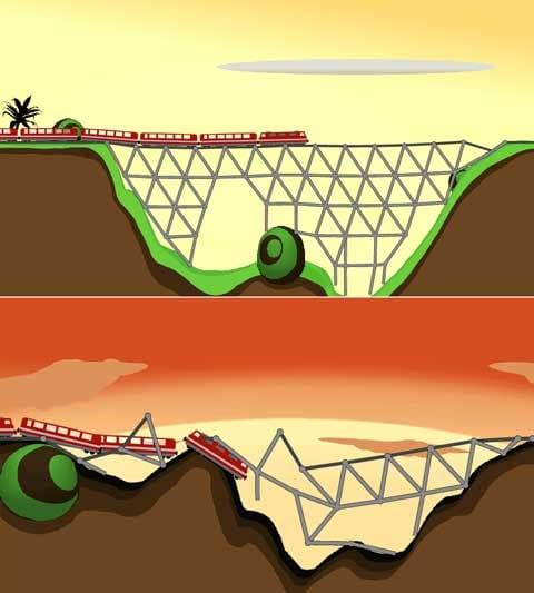 X Construction Lite:鉄橋を作れ!渡り切れなかった時のアニメーションがおもしろい
