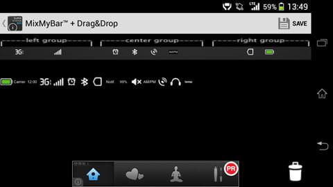 スーパーステータスバー:「MixMyBar」ではドラッグ&ドロップでステータスバーのレイアウトを決められる