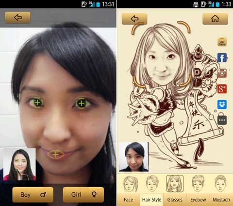 MomentCam:「Comics」選択後、写真を撮って目と口の位置を調整(左)パーツの選択や位置調整が可能(右)