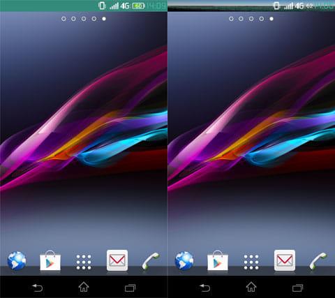 スーパーステータスバー:背景色を変更(左)画像も設定できる(右)