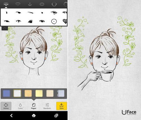 ユフェイス (Uface) - 私だけのアバター:好きなパーツを選ぼう(左)できあがりはギャラリーから見られる(右)
