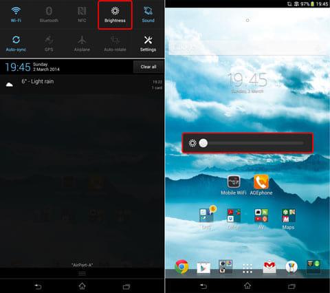 通知パネルから明るさボタンを選ぶと、スライダーが出て輝度調整ができる機種もある(画像はXperia Z Ultraの場合)