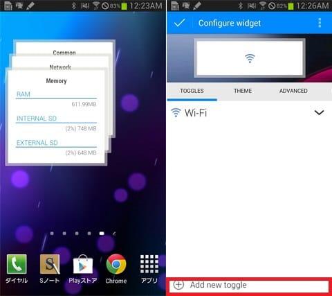 Extended Controls:端末のステータスを表示できる3×3サイズ(左)「Add new toggle」から設定したい項目を追加(右)