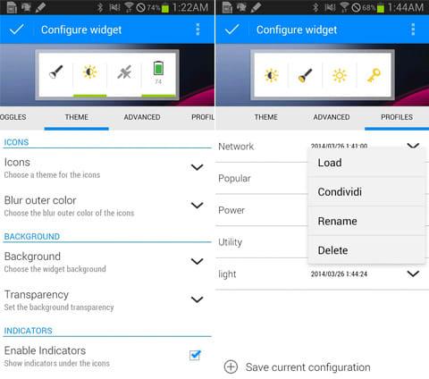 Extended Controls:「THEME」からウィジェットのデザインを変更(左)「PROFILES」から、作成したウィジェットを保存できる(右)