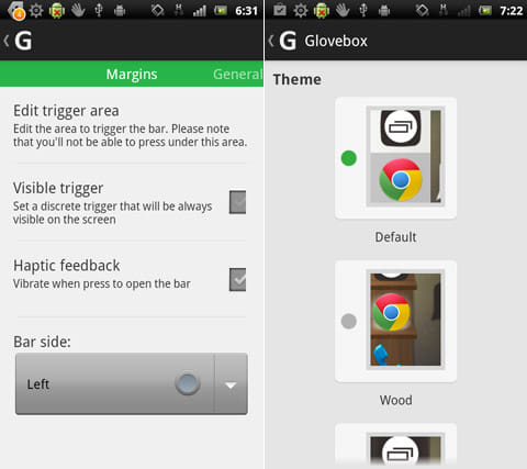 Glovebox - Side launcher:「Configuration」からランチャーの設定(左)「Personalization」からデザインの変更等ができる(右)