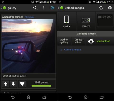 Imgur - official app:ユーザがアップした画像の詳細(左)アップロードした画像を選択したら、「start upload」をタップするだけ(右)
