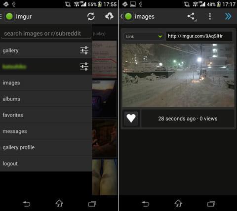 Imgur - official app:アップロードした画像は「images」から確認(左)画面上に画像のURLが生成されている(右)