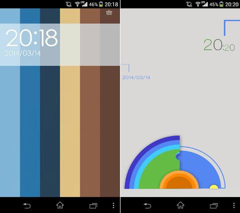 Joy Locker:ゲームロック画面:テーマ名「カラーの世界」。ロック解除時のアニメーションは必見(左)テーマ名「カラーディスク」。画面下部のリングを動かしてみよう(右)