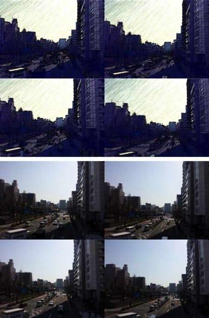 漫画のカメラ:コラージュし、「Skool」で加工(上)車の動きを連写した元画像(下)