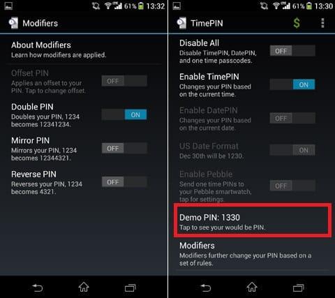 TimePIN:「Modifiers」から、PINコードのカスタマイズができる(左)現在のPINコードは「Demo PIN」から確認(右)