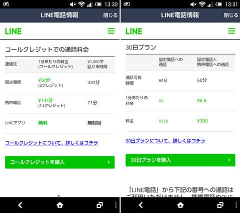 「コールクレジット」の通話料金(左)「30日プラン」の通話料金(右)