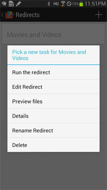 Redirect File Organizer:Redirectの実行メニュー
