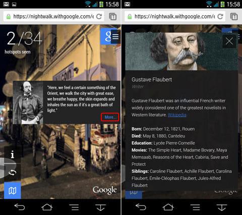 Google検索スポットの表示例。その場所にまつわる人物などの情報を確認できる
