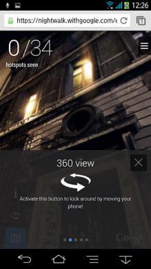 Googleマップのストリートビュー同様、スマホのセンサーを利用した360度ビューも可能