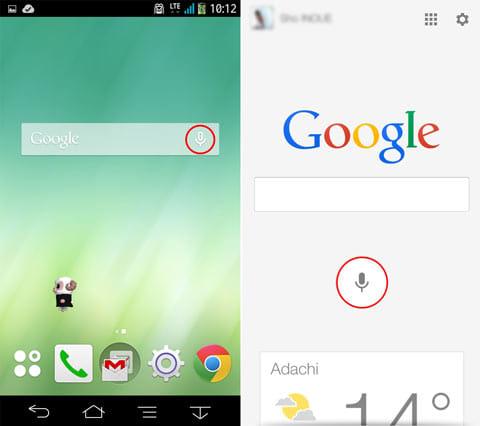 AndroidではGoogle検索ウィジェットから(左)iOSでもGoogle検索アプリのマイクアイコンをタップ(右)で、音声検索機能を呼び出せる