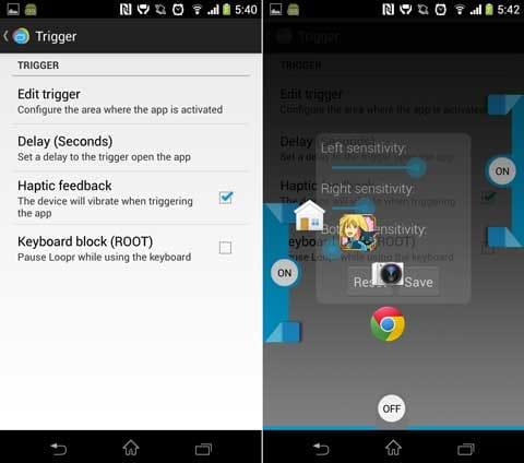 Loopr - Task Switcher (Beta):「Tigger」画面(左)アプリを起動する位置を調整(右)