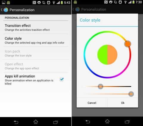 Loopr - Task Switcher (Beta):「Personalization」画面(左)色のカスタマイズも自由自在(右)