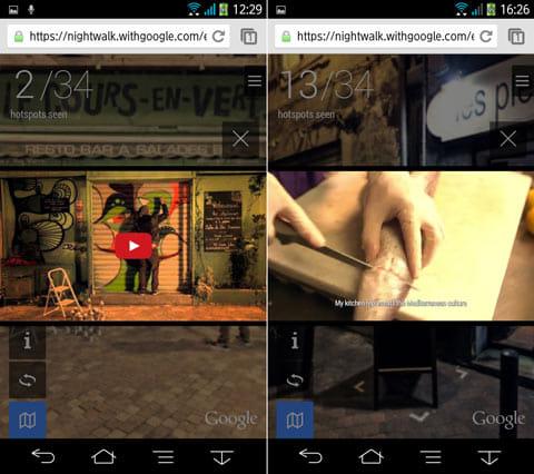 動画スポットの表示例。シャッターに絵が描かれるまでを早送りして確認できる(左)会話には英語の字幕が付く(右)