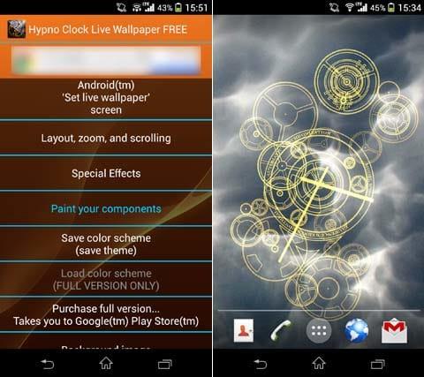 Hypno Clock Live Wallpaper:設定画面(左)背景を変更。ギャラリー内の画像も使用できる(右)