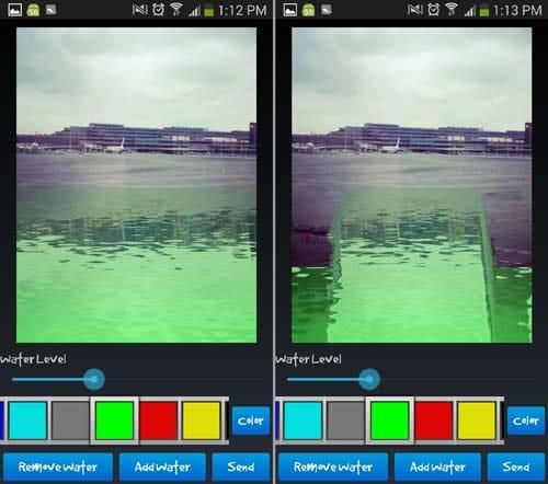 水の反射効果:空港の写真に水辺を作り(左)動きを見せるため指でなぞって調節(右)