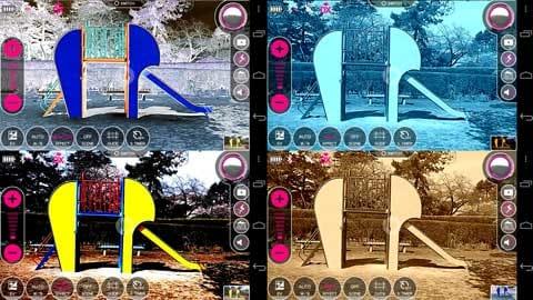 エンジェルカメラ:エフェクトを適用。反転(左上)アクア(右上)ホワイトボード(左下)セピア(右下)