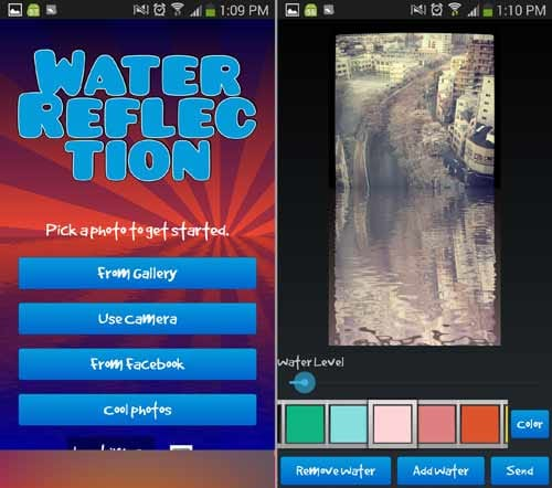 水の反射効果:トップから写真をどこから引っ張るか選べる(左)「Color」で色を選ぼう。桜の写真に合わせてピンクをチョイス(右)