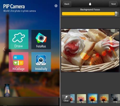 PIP Camera:TOPから右矢印で移動させると追加機能が出てくる(左)「Draw」を使えば文字も入力できる(右)