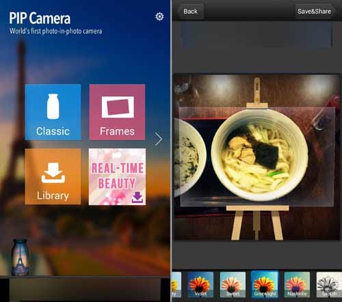 PIP Camera:アプリを起動し加工したい機能を選択(左)「Frames」の額縁型を使うと料理がより立体になる(右)