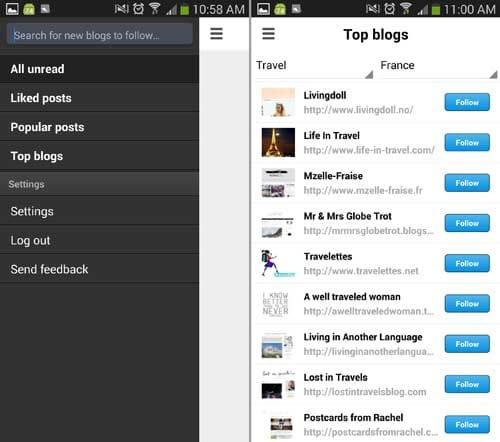 Bloglovin':画面の左側を右へスライドするとメニューが開く(左)「Top blogs」には人気のブログが出てくる(右)