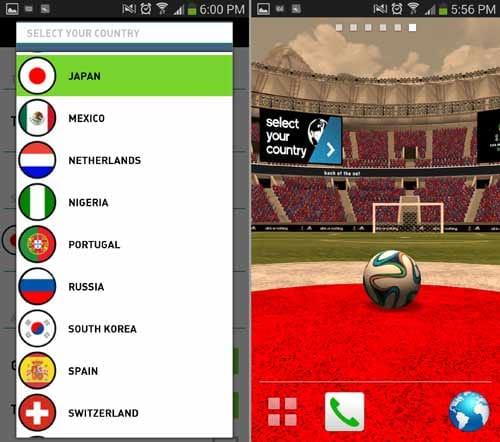 adidas 2014 FIFA World Cup LWP:出場32ヶ国から選べる(左)選んだ国旗色がスタジアムに変わる(右)